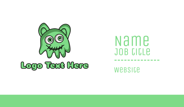 day care - Green Slime Jelly Monster Business card horizontal design