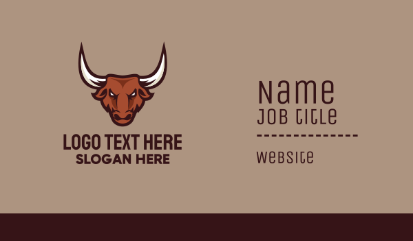 avatar - Bull Mascot Business card horizontal design