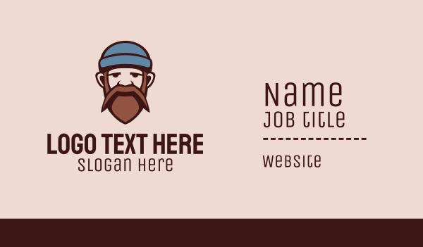 beanie - Mustache Beard Man  Business card horizontal design