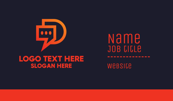 chat box - Modern Chat App Business card horizontal design