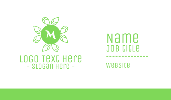 natural therapy - Green Natural Lettermark Business card horizontal design