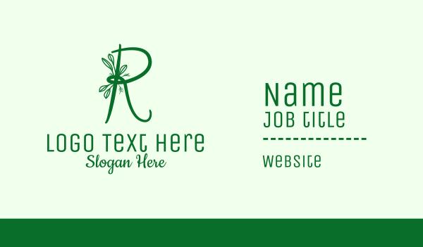 flower shop - Natural Elegant Letter R Business card horizontal design