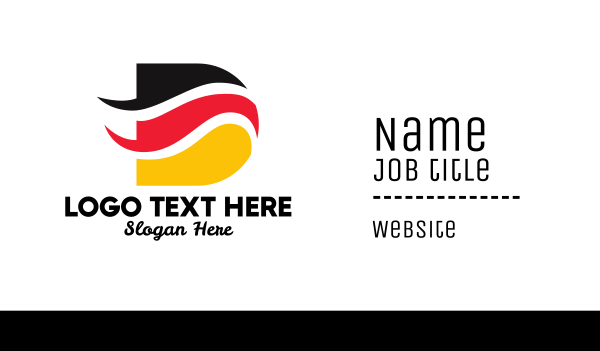 german - German Flag Letter D  Business card horizontal design