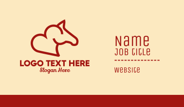 Red Horse Heart  Business Card