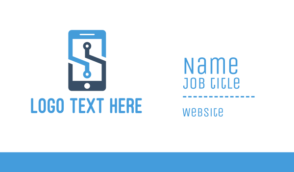 app developer - Blue Mobile  Business card horizontal design