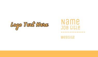 Retro Yellow Wordmark Business Card