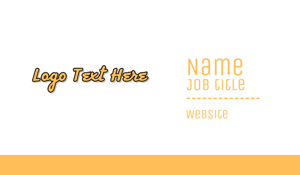 casual - Retro Yellow Wordmark Business card horizontal design