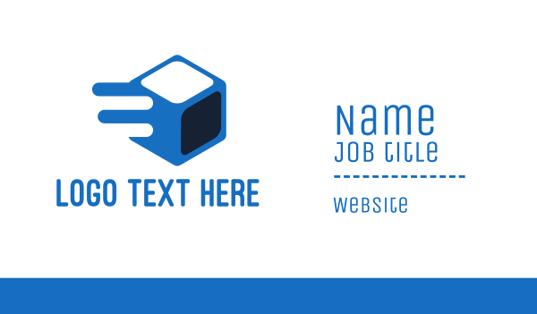 blue box - Fast Ice Cube Business card horizontal design