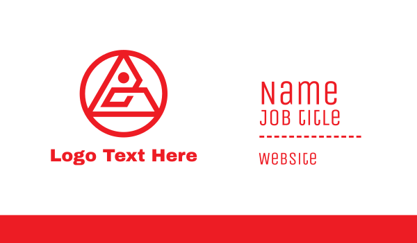 cryptic - Circular Red Triangle  Business card horizontal design