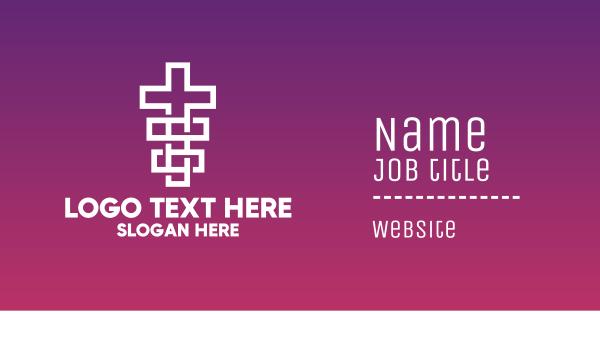 catholic - Geometric Religion Cross  Business card horizontal design