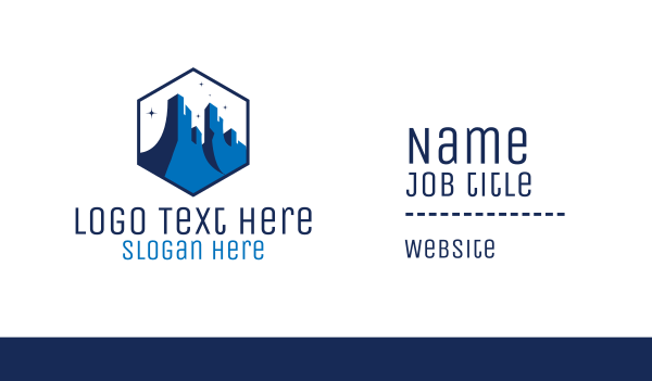 blue hexagon - Blue Grand Canyon Business card horizontal design