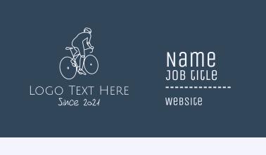 Monoline Cyclist Rider Business Card