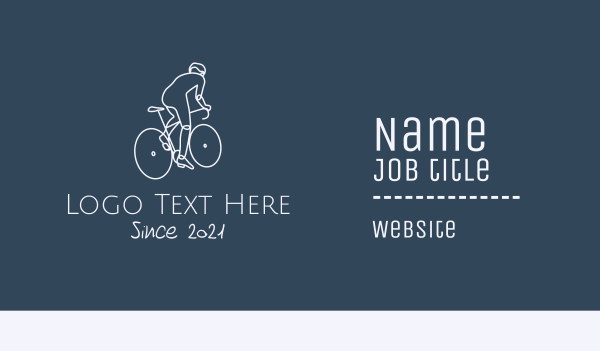 pedal - Monoline Cyclist Rider Business card horizontal design