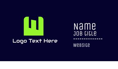 Tech Green Letter W Business Card