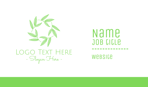 natural therapy - Green Natural Plant Leaves Business card horizontal design