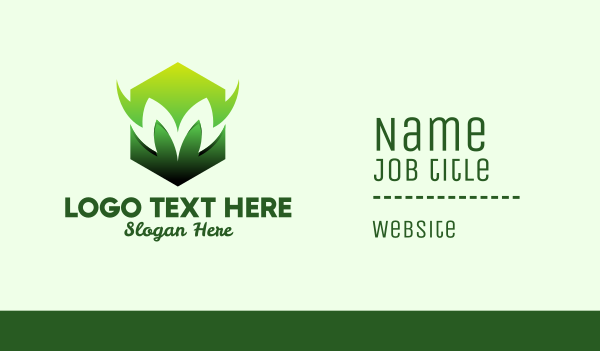sigil - Green Hexagon Letter M   Business card horizontal design