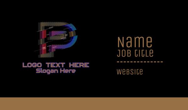 malfunction - Gradient Glitch Letter P Business card horizontal design