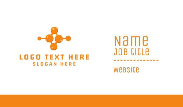 microbiology - Orange Molecule Business card horizontal design