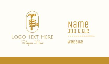Golden Skeleton Hammer Business Card