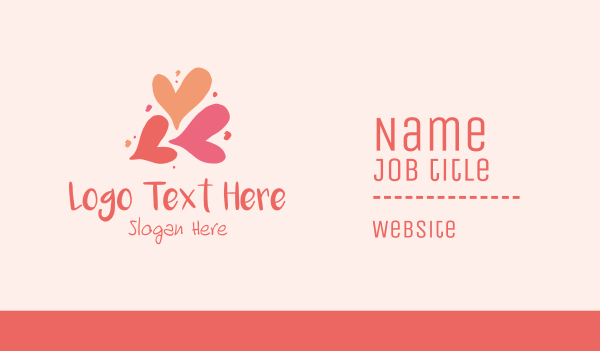 handcrafted - Lovely Valentine Hearts Business card horizontal design