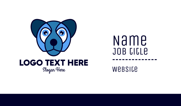 nursery - Blue Kids Dog Animal Mascot Business card horizontal design