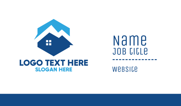 blue hexagon - Blue Mountain House Business card horizontal design