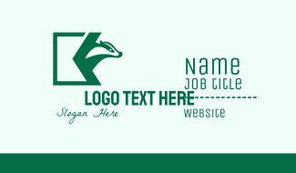 Green Badger Letter K Business Card
