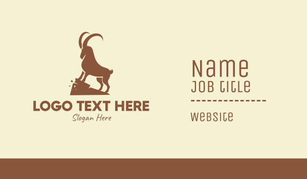alpine ibex - Brown Wild Alpine Ibex Business card horizontal design