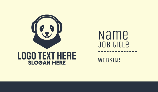 athlete - Black Panda Headphones Mascot Business card horizontal design