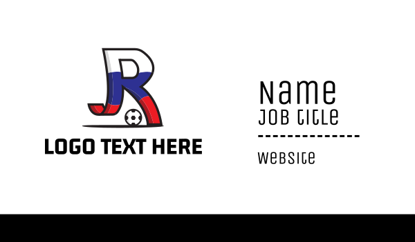 russia - Letter R Soccer Business card horizontal design