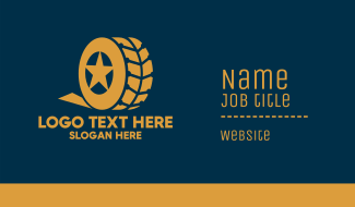 Gold Star Car Vehicle Tire Business Card