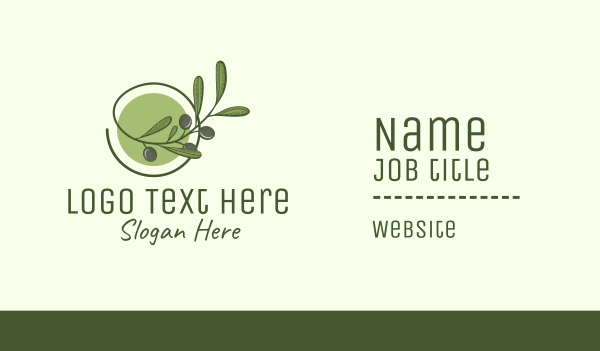 organic farm - Olive Branch  Business card horizontal design