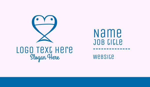 dating website - Blue Fish Heart  Business card horizontal design