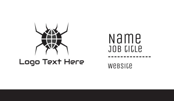 gothic - Black Spider Globe Business card horizontal design
