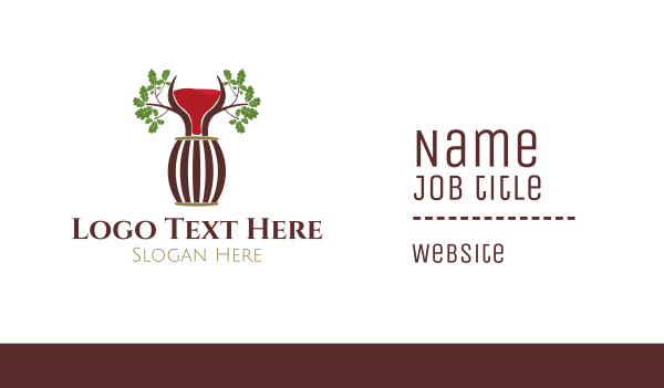 wine tasting - Organic Wine Barrel Business card horizontal design