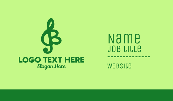 g clef - Green Musical Letter B Business card horizontal design