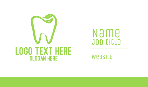 green tooth - Organic Dentistry Business card horizontal design