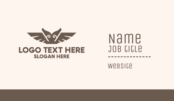 tribal - Brown Ancient Owl Business card horizontal design