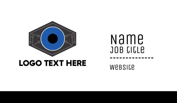 blue camera - Robotic Tech Eye Business card horizontal design