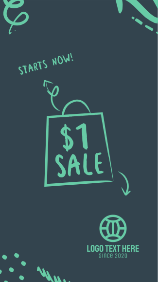 $1 Sale Doodle Facebook story