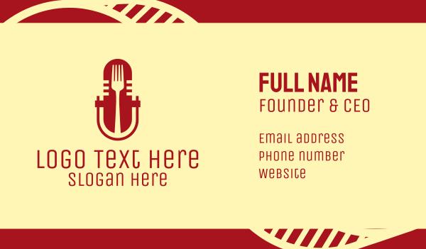 talk show - Fork Microphone Talk Show  Business card horizontal design