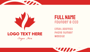 Red Canadian Maple Leaf Business Card