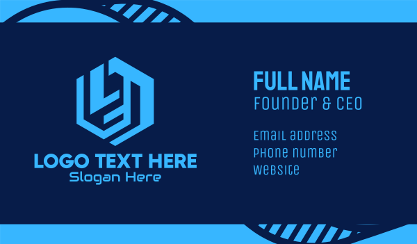 application - Blue Hexagon Tech Letter L Business card horizontal design