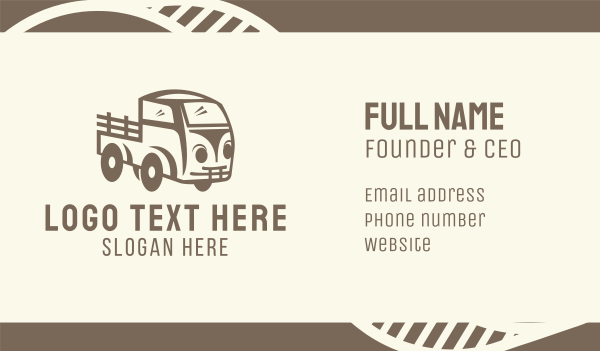 trucking service - Old Farm Truck Business card horizontal design