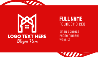 Modern Red Ribbon House Business Card