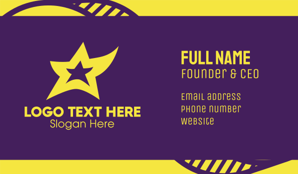 concert hall - Yellow Dancing Star Business card horizontal design