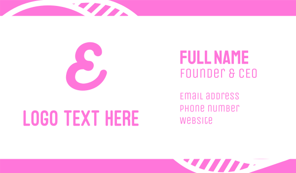 hot pink - Cursive Pink Letter E Business card horizontal design
