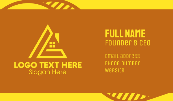 roofing service - Yellow House Letter L  Business card horizontal design