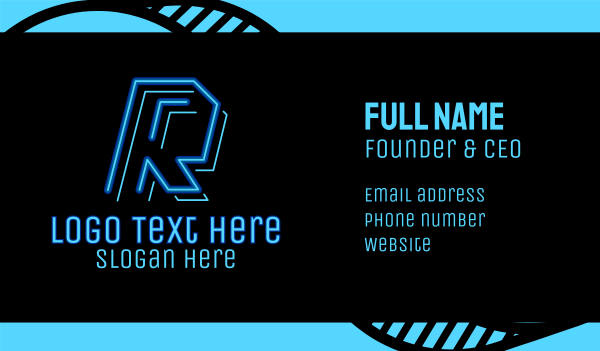 game youtuber - Neon Retro Gaming Letter K Business card horizontal design
