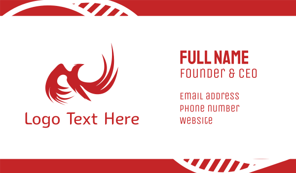 red hawk - Red Phoenix Business card horizontal design